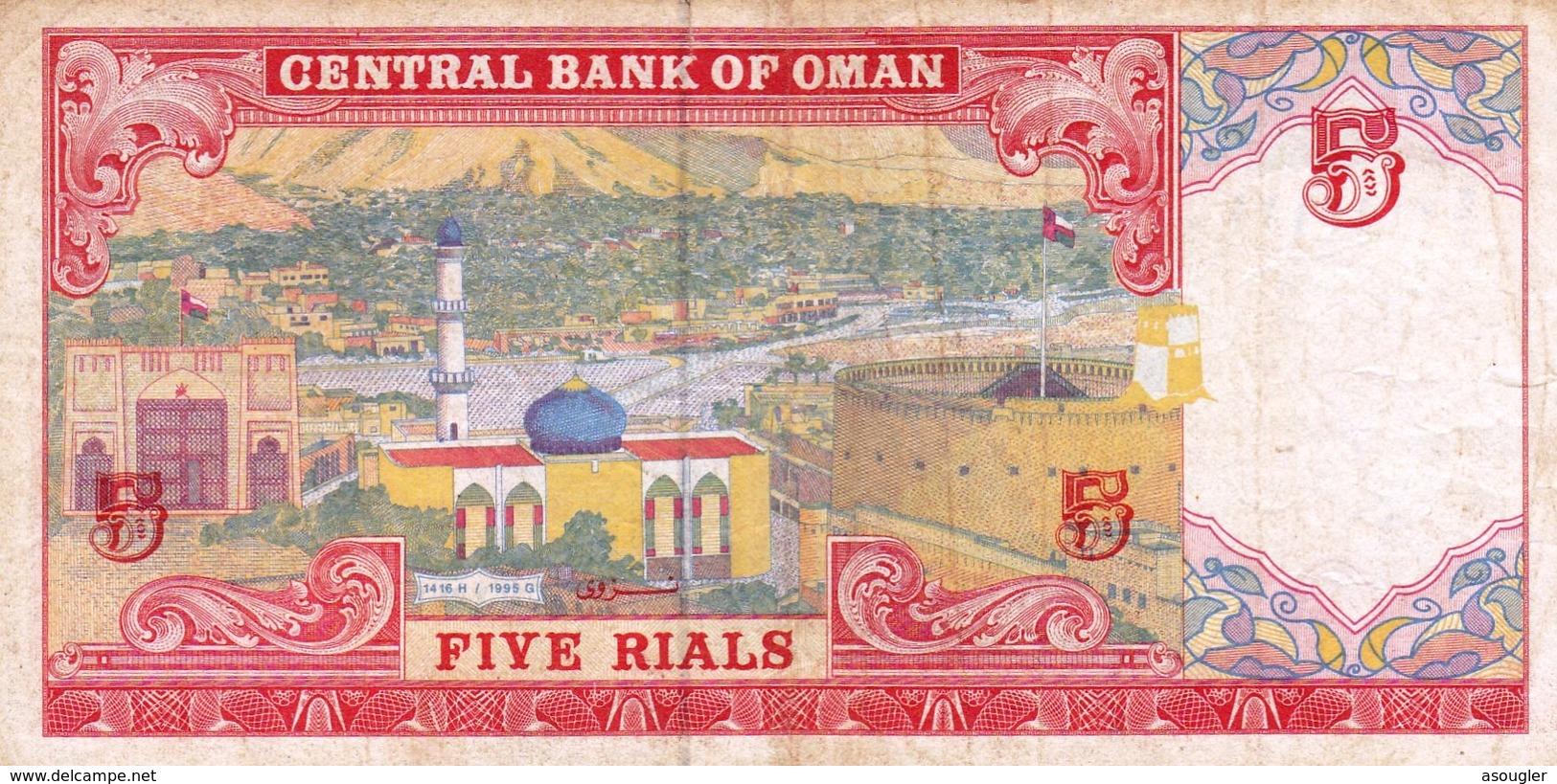 "OMAN 5 RIALS 1995 F-VF P-35a  ""free Shipping Via Registered Air Mail"" - Oman"