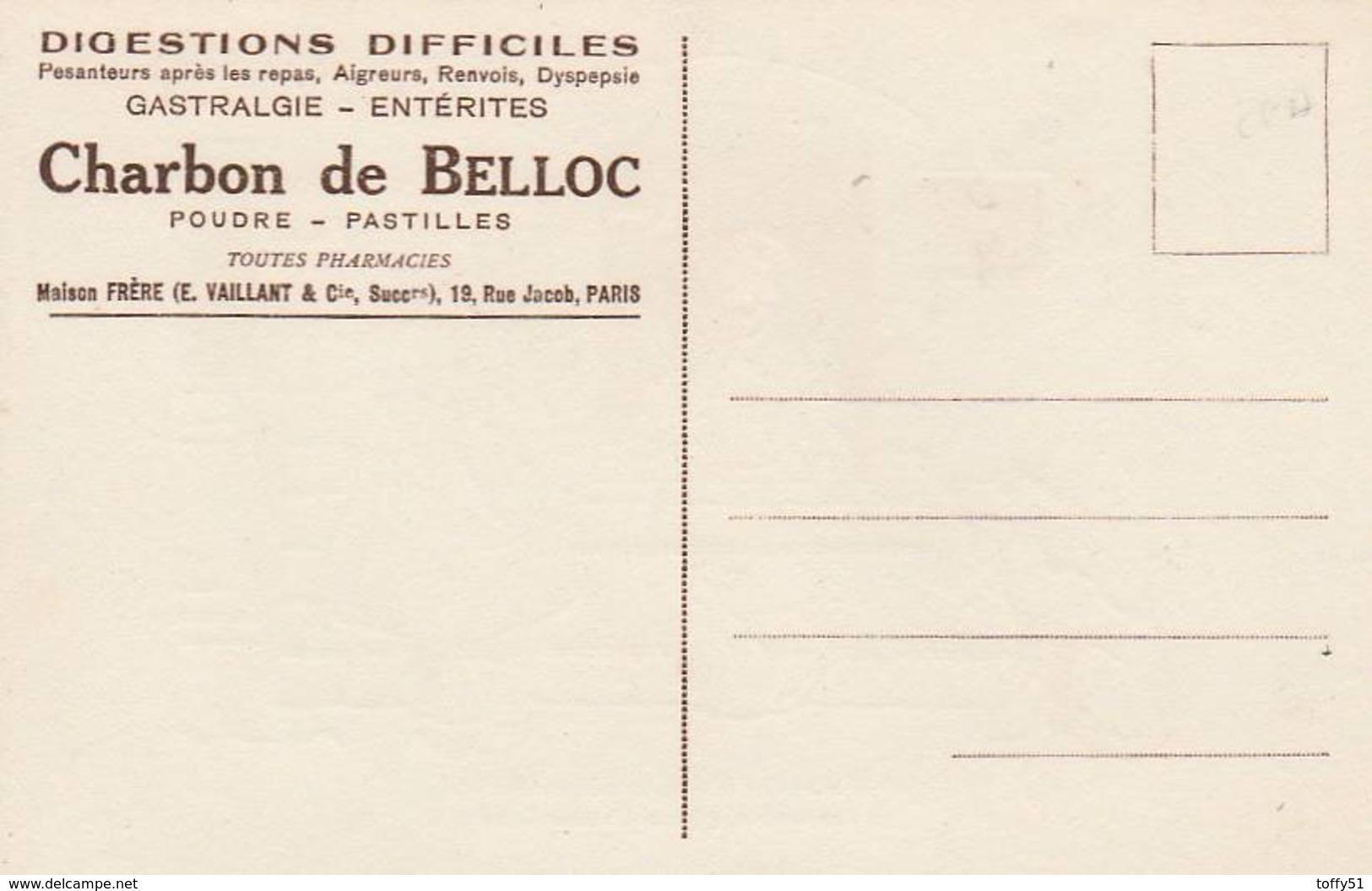 """CPA:SIGNÉ """"BENJAMIN RABIER"""" FABLE DE LA FONTAINE """"LE SAVETIER ET LE FINANCIER"""" PUBLICITÉ """"CHARBON DE BELLOC"""" - Rabier, B."""