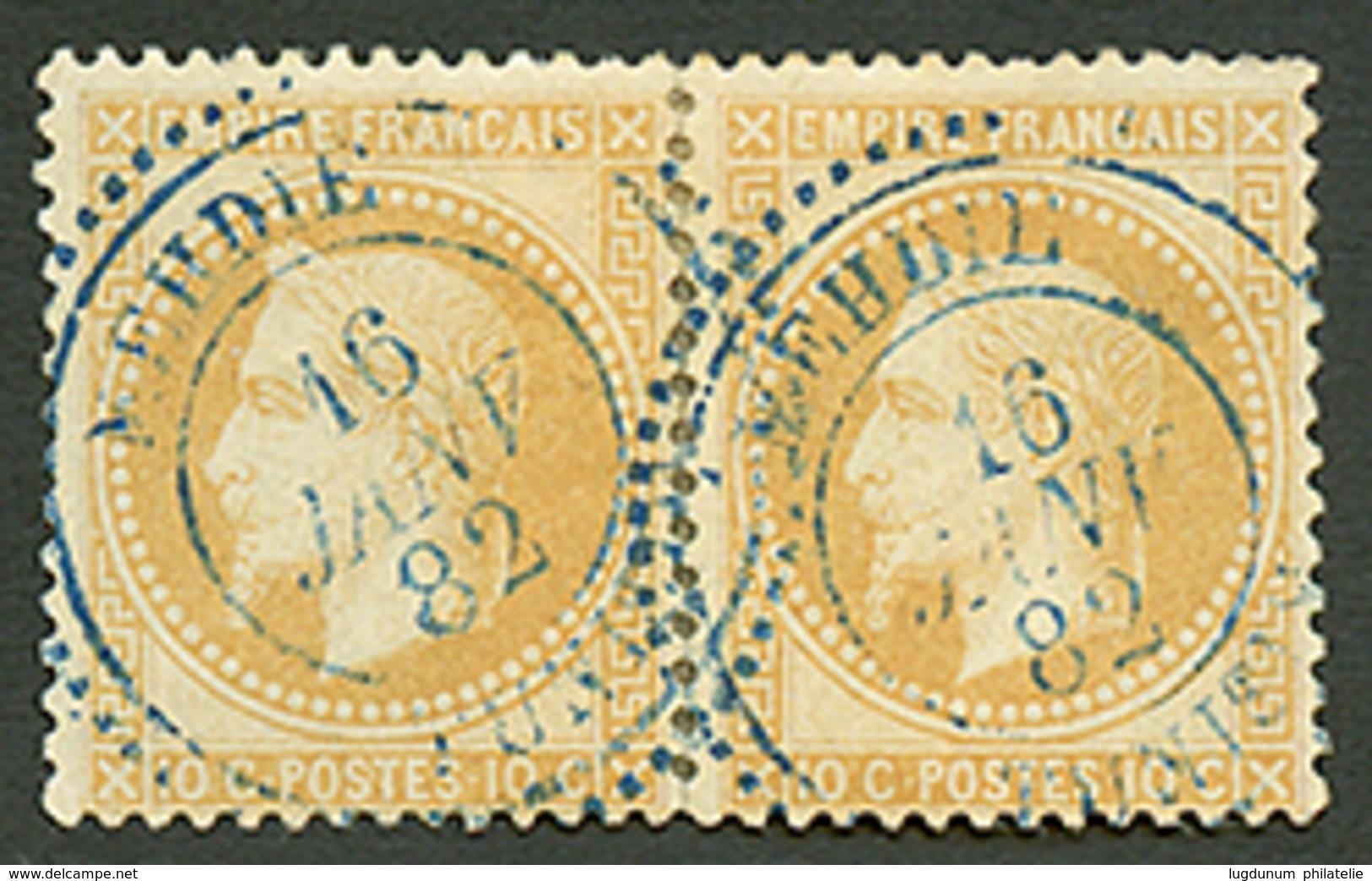 276 Paire 10c Empire(n°28) Obl. Cachet Perlé Bleu MEHDIE TUNISIE. RARETE. TTB. - Frankreich