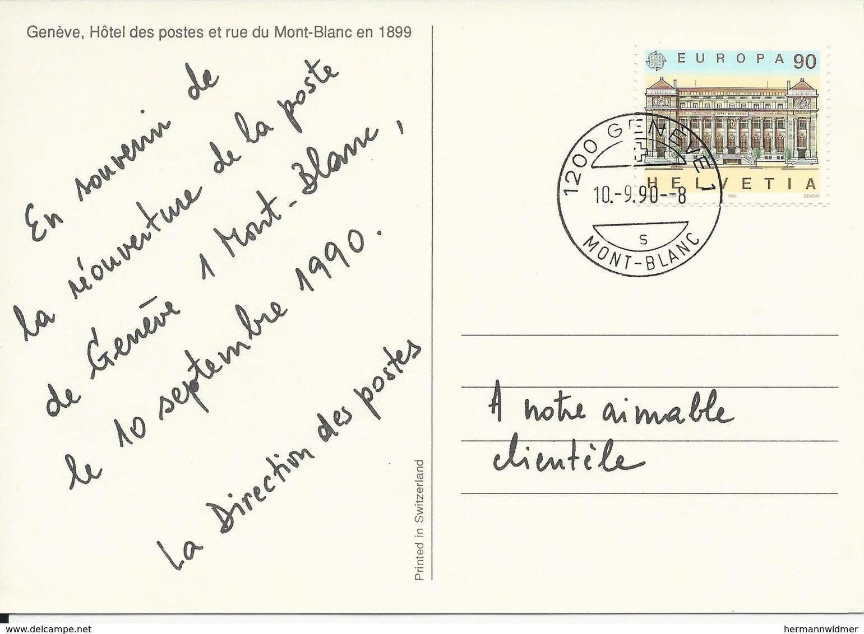 798, EUROPA, Bâtiments Postaux, Obl. Genève 10.9.90 Mont-Blanc, Verso Nouvel Hôtel Des Postes En 1899 - Suisse
