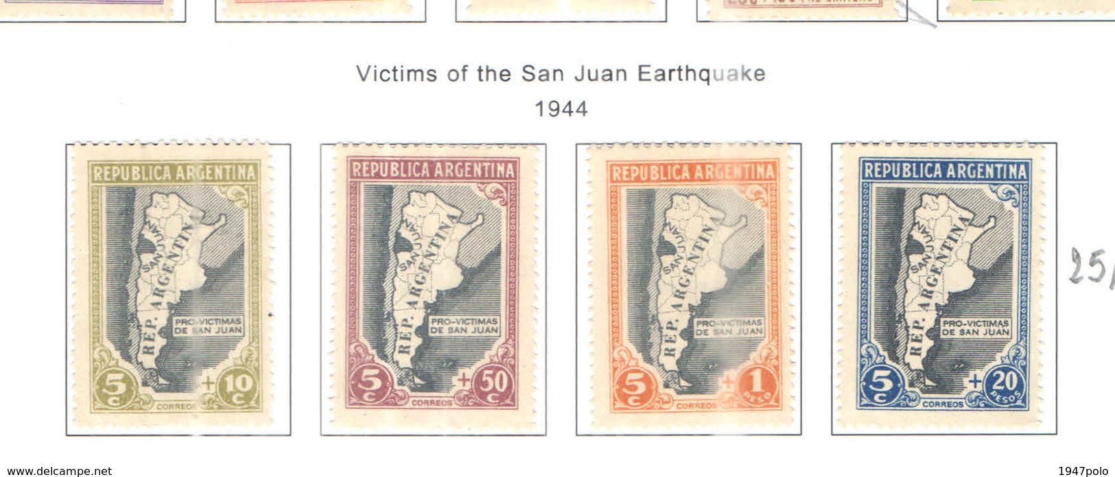 Argentina POSP 1944 Vittime San Juan Earthquake  Scott.B6/9 New See Scan On Scott.Page - Argentina