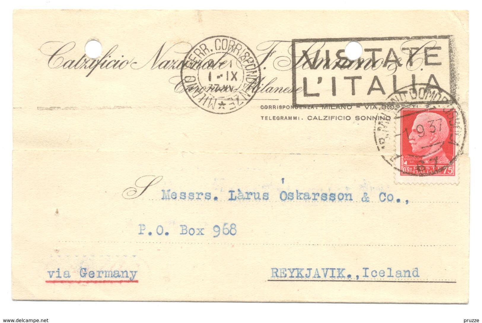 Italien, Milano 1937 Nach Reykjavik, Island - Iceland - Ganzsachen