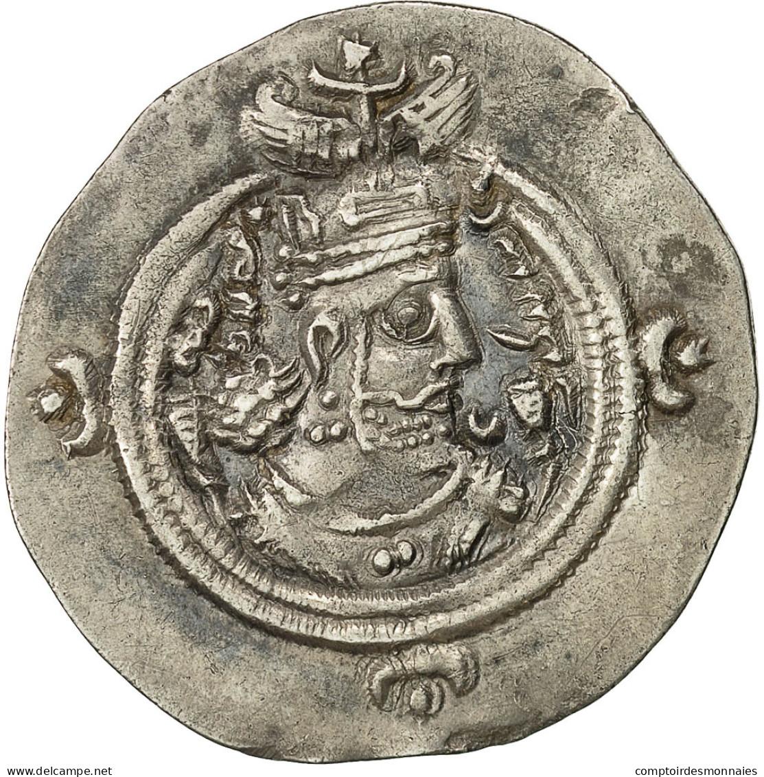 Monnaie, Chosroès II, Drachme, 590-628, Ahwaz, TTB+, Argent - Orientales