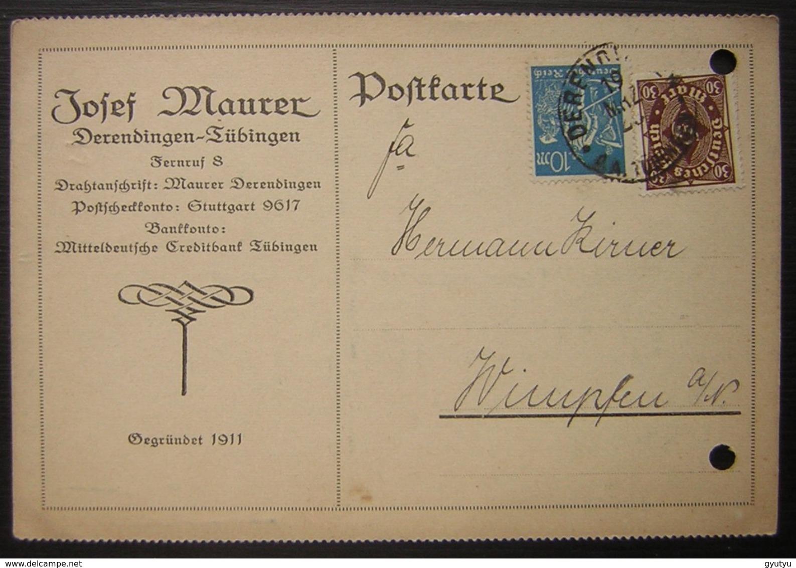 1923 Derendingen-Tübingen Josef Maurer Postkarte (deutsches Reich Allemagne) - Deutschland