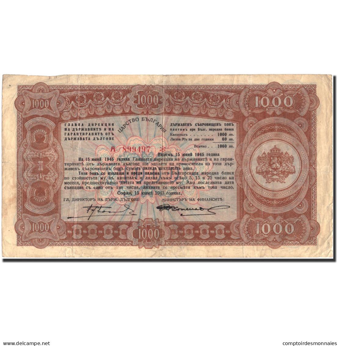 Billet, Bulgarie, 1000 Leva, 1943, 1943, KM:67L, TTB - Bulgarie