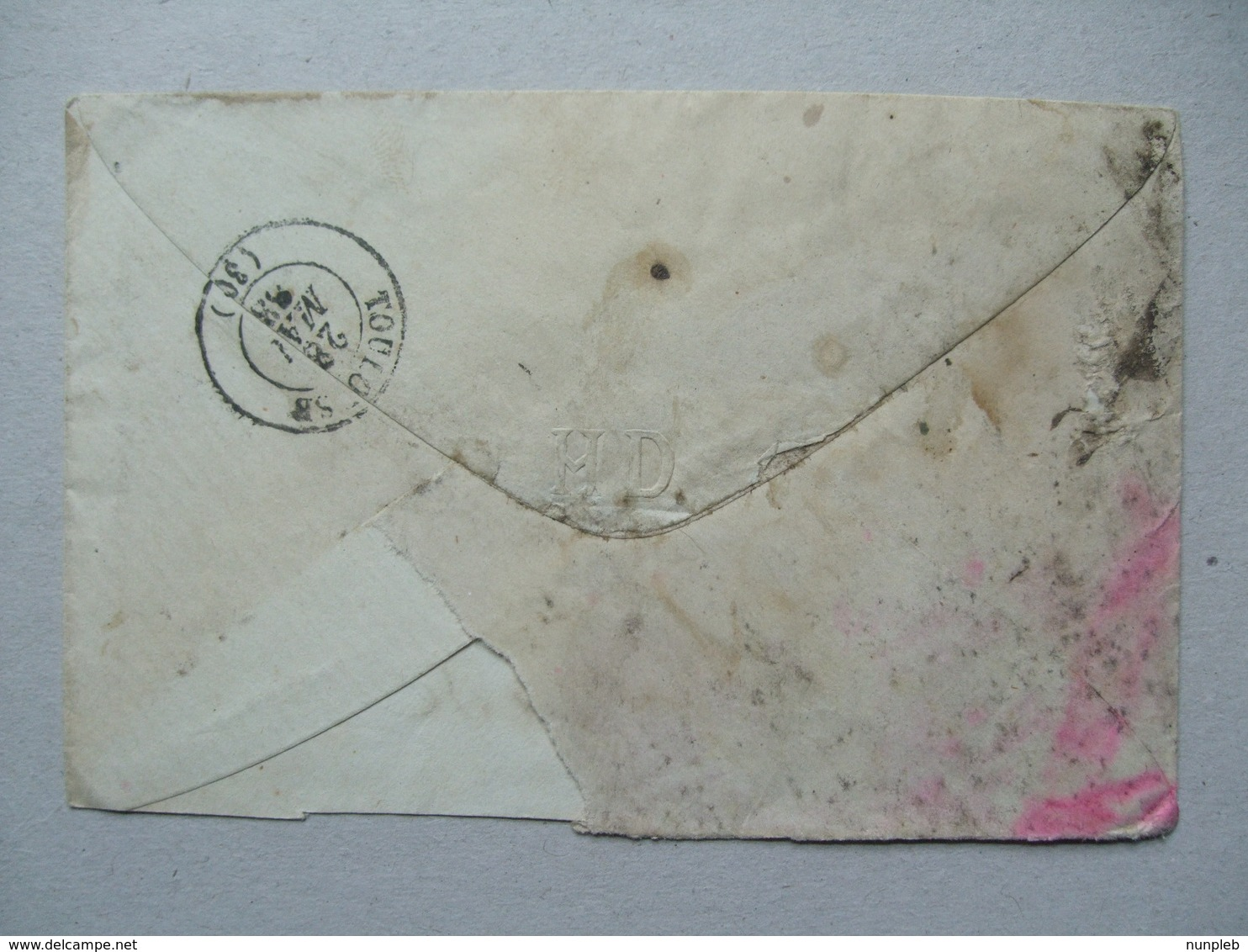 FRANCE - 1883 Cover Paris To Toulouse Tied With Napoleon 10c Bistre X 2 - 1862 Napoleon III