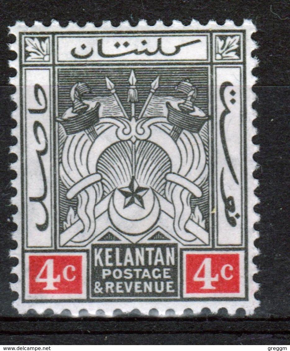 Malaya Kelantan 1921 Four Cent Black And Red Mounted Mint Stamp. - Kelantan