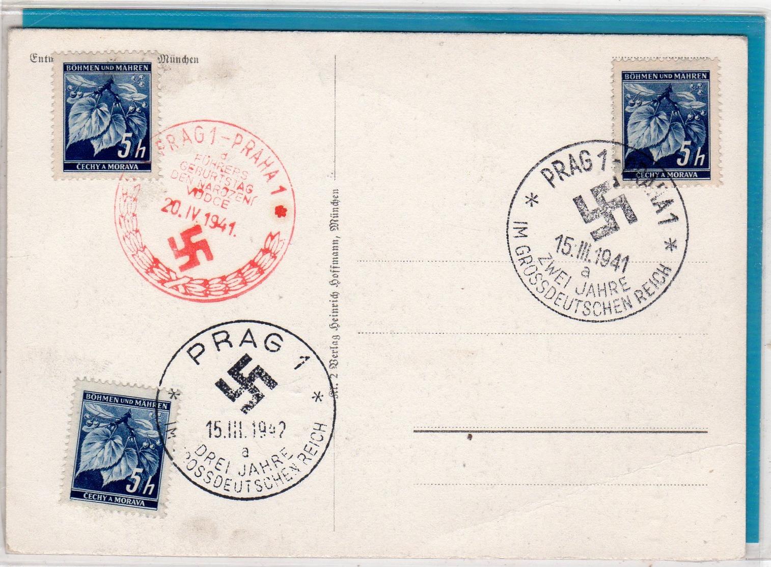 AK Stahlhelm Eichenlaub Eisernes Kreuz - Sonderstempel Prag 1941 / 1942 - Allemagne