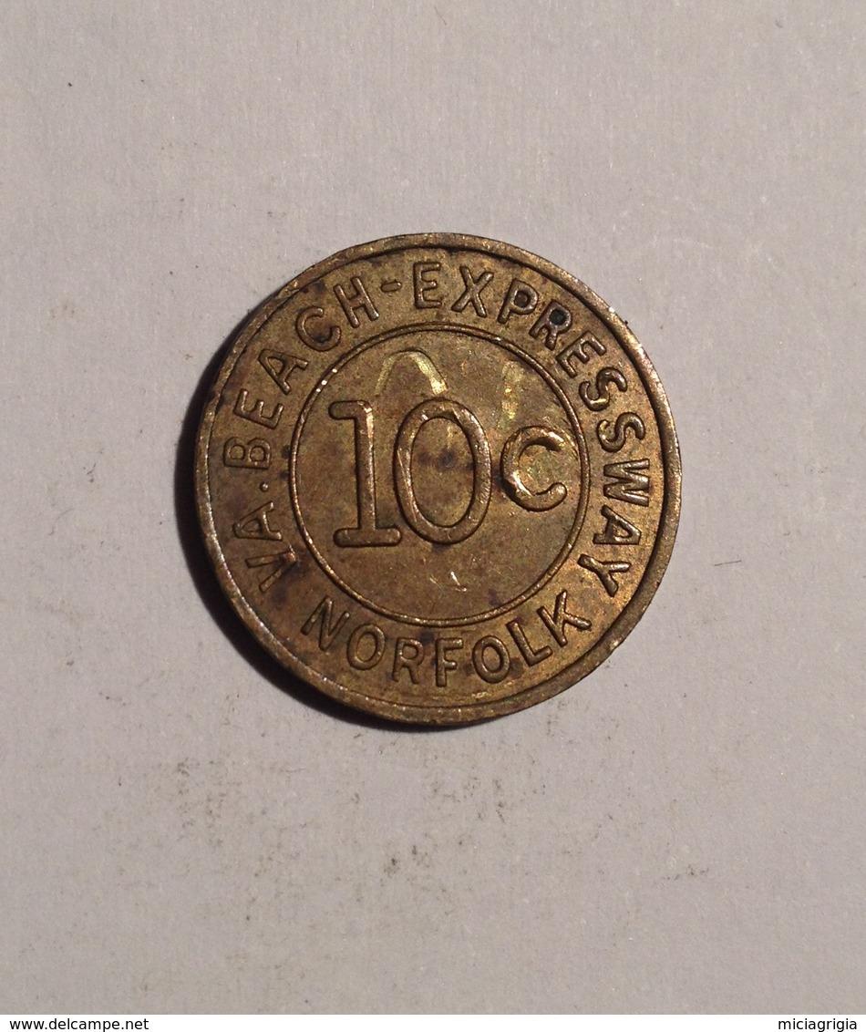 TOKEN JETON GETTONE TRASPORTI TRANSIT NORFOLK 10 CENT. BEACH EXPRESSWAY GOOD FOR ONE FARE - Monétaires/De Nécessité