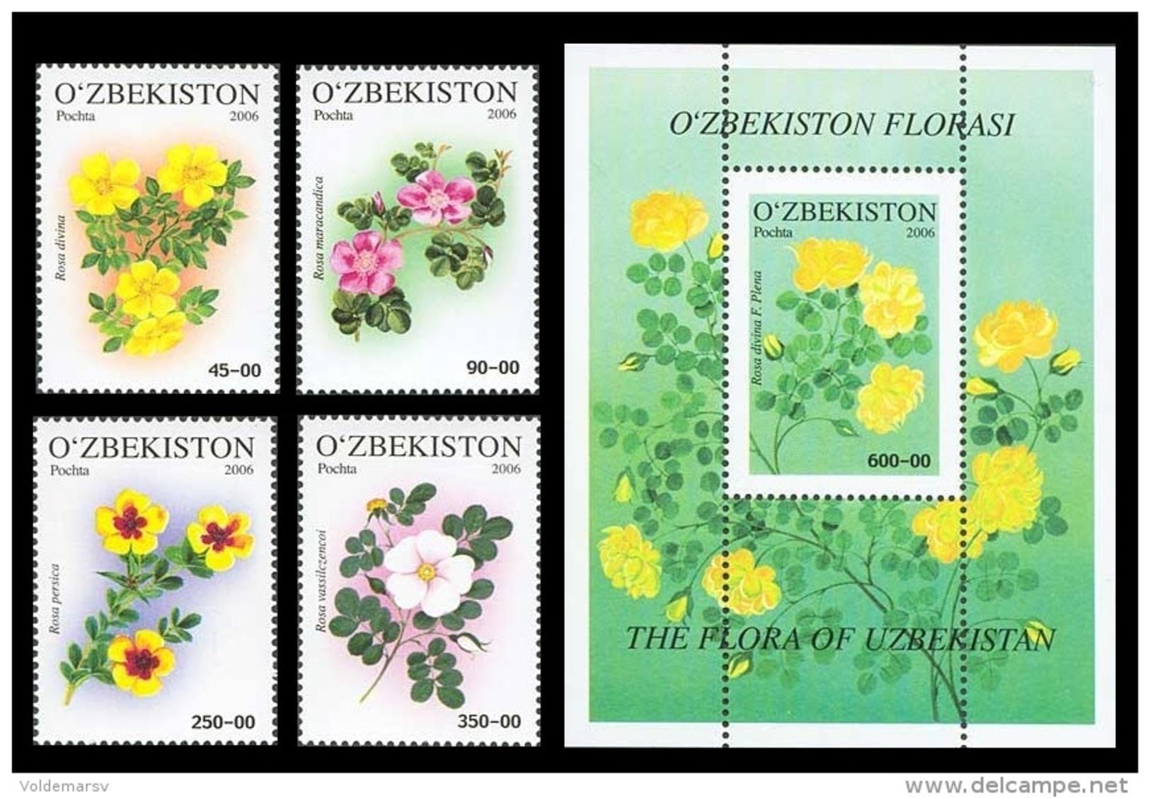 Uzbekistan 2006 Mih. 693/96 + 697 (Bl.44) Flowers. Roses MNH ** - Uzbekistan