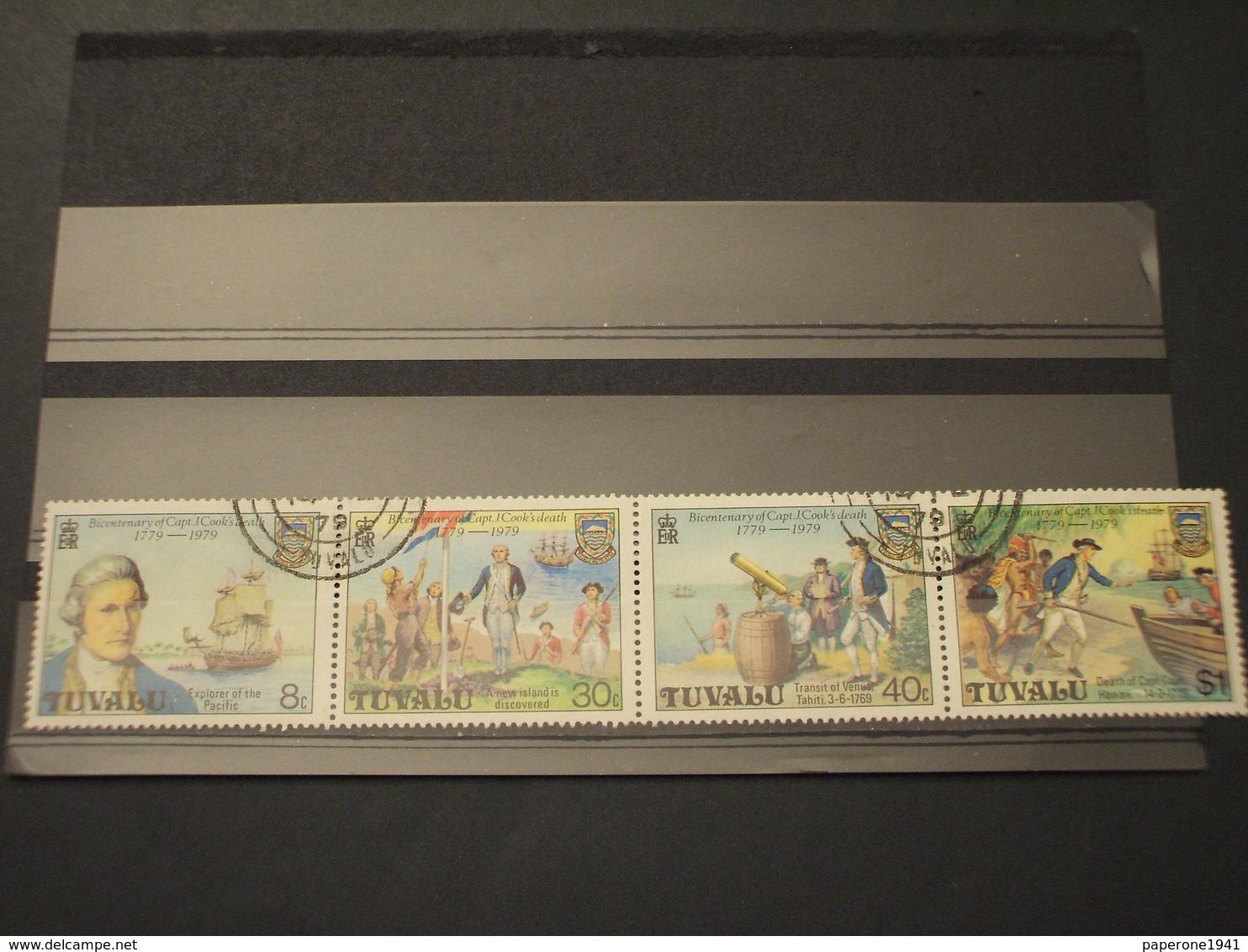 TUVALU - 1979 MORTE NAVIGATORE 4 VALORI - TIMBRATI/USED - Tuvalu