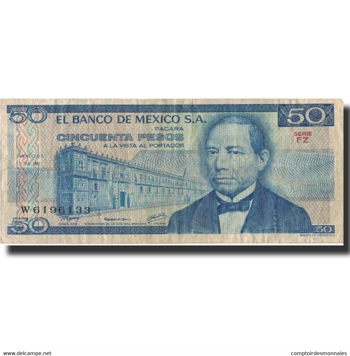 Billet, Mexique, 50 Pesos, 1978, 1978-07-05, KM:65c, TTB - Mexique