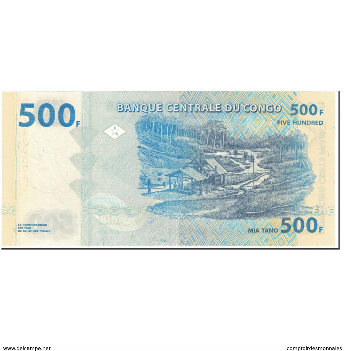 Billet, Congo Democratic Republic, 500 Francs, 2002, 2002-01-04, KM:96a, NEUF - Congo