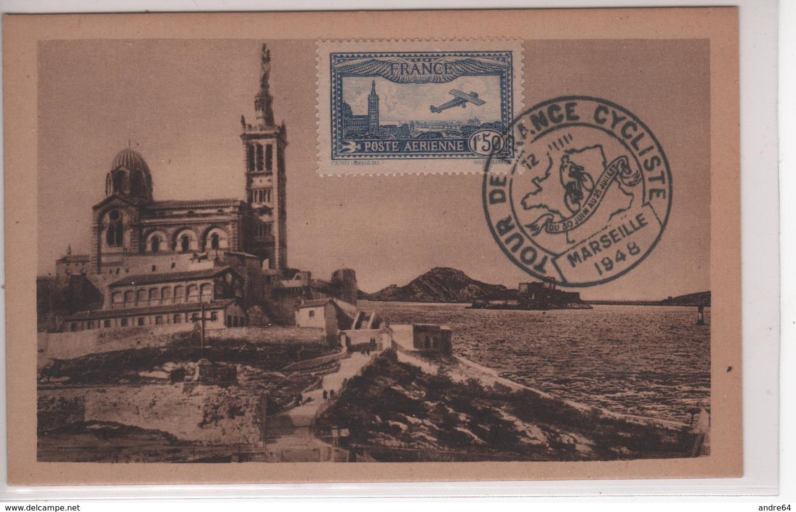Carte Maximum PA N°6 Oblitéré Tour De France Marseille 12/7/48 - 1930-39