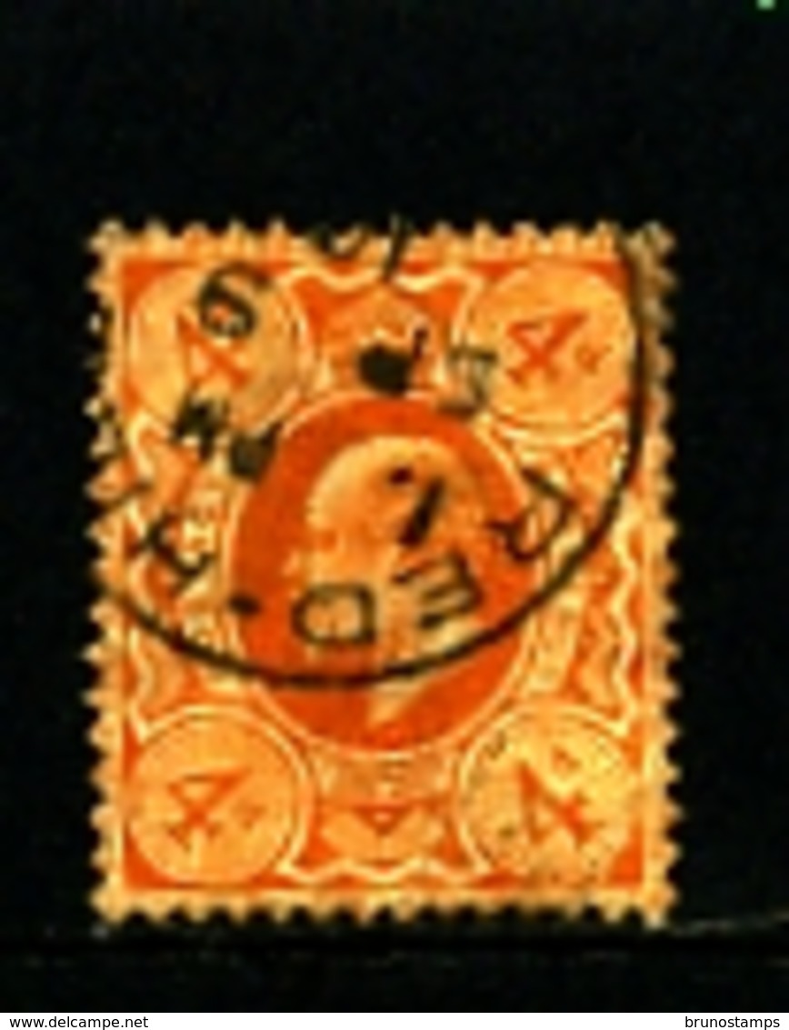 GREAT BRITAIN - 1909  EDWARD VII  4d  ORANGE   FINE USED  SG 241 - 1902-1951 (Re)
