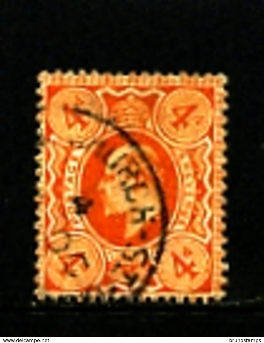 GREAT BRITAIN - 1911  EDWARD VII  4d  ORANGE  PERF 15 X 14  FINE USED   SG 286 - 1902-1951 (Re)