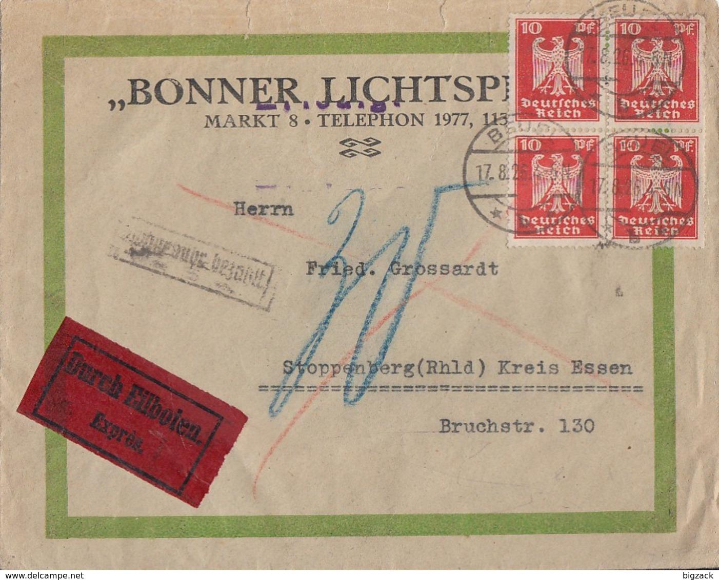 DR Brief Eilbote Mef Minr.4x 357 Beuel 17.8.26 Gel. Nach Stoppenberg Nachporto Ansehen !!!! - Deutschland