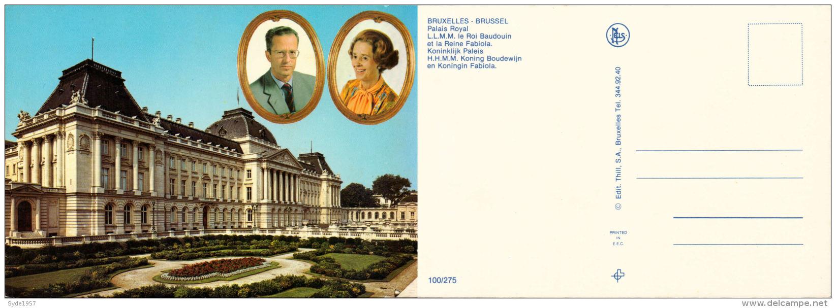 Belgique - Roi Baudouin Et Reine Fabiola En Médaillon Au Dessus Du Palais Royal - Koninklijke Families