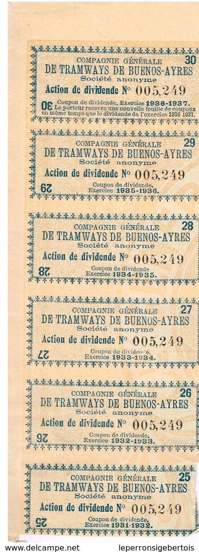 Ancienne Action - Compagnie Générale Des Tramways De Buenos Ayres -  Titre De 1907 - - Chemin De Fer & Tramway