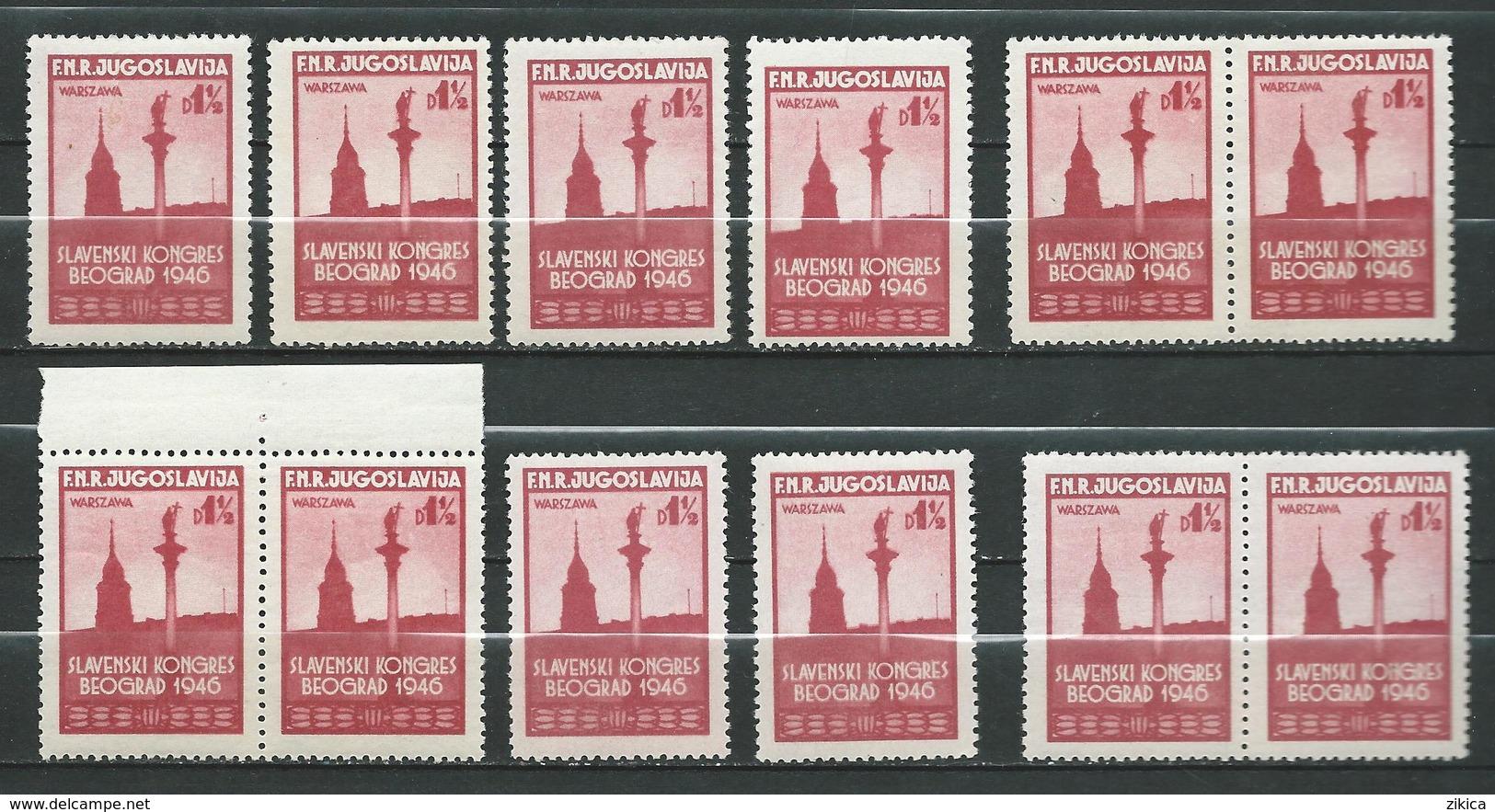 Yugoslavia 1948 Slav Congress - Lot 12 Stamps - Sigismund's Column,Warsaw, Poland - MNH** - 1945-1992 Socialistische Federale Republiek Joegoslavië