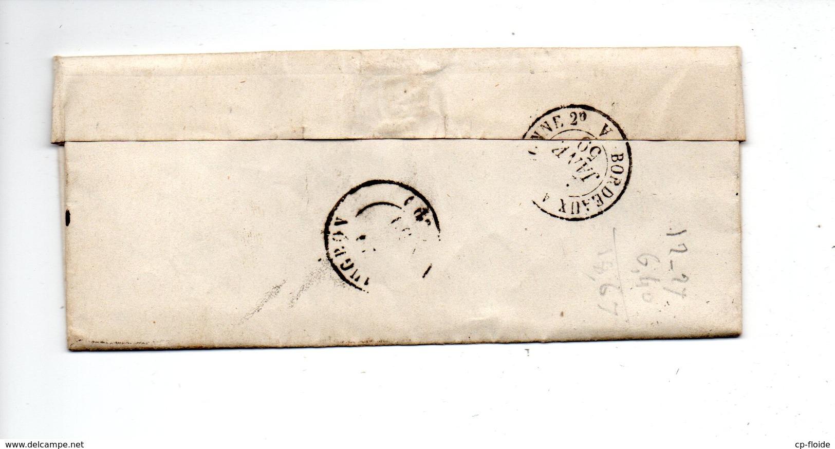 LETTRE. NAPOLÉON 20c. DE MONT-DE-MARSAN À MUGRON . LANDES . 26 MARS 1860 . P. CAPIN AVOUÉ MONT-DE-MARSAN - Réf. N°711T - - 1849-1876: Période Classique