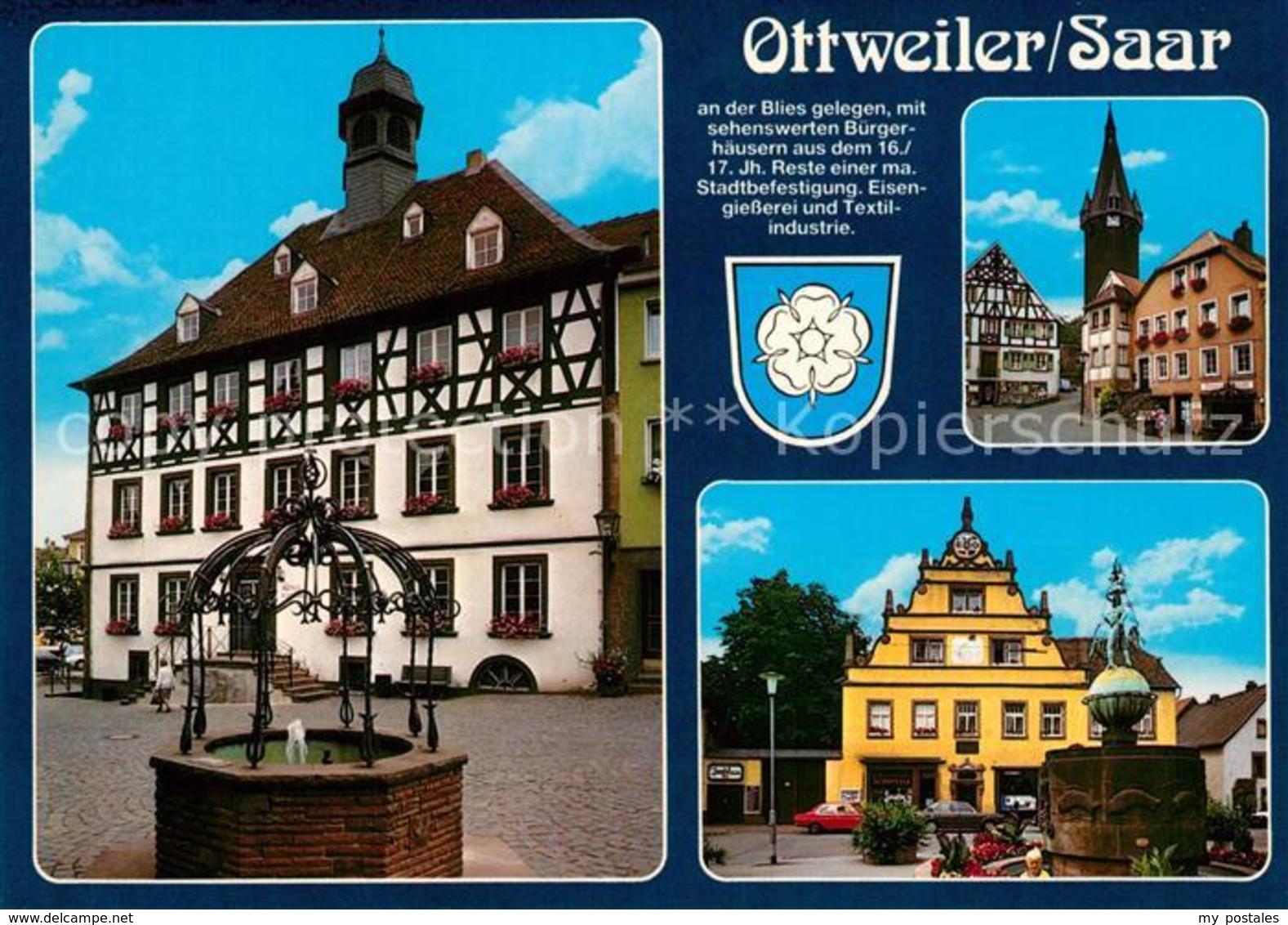 73214453 Ottweiler Altes Rathaus Brunnen Hesse Haus 16. Jhdt. Rathausplatz Turm - Deutschland
