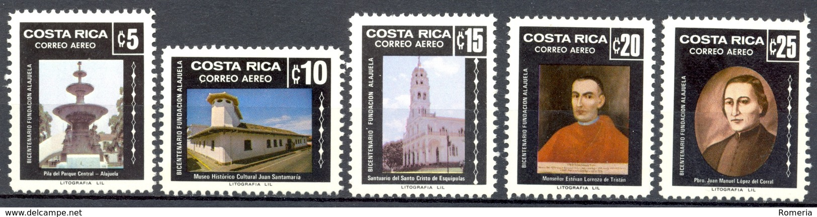 Costa Rica - 1982 - Yt PA 853/857 - 50ème Anniversaire Du Canton Perez Zelodon - ** - Costa Rica