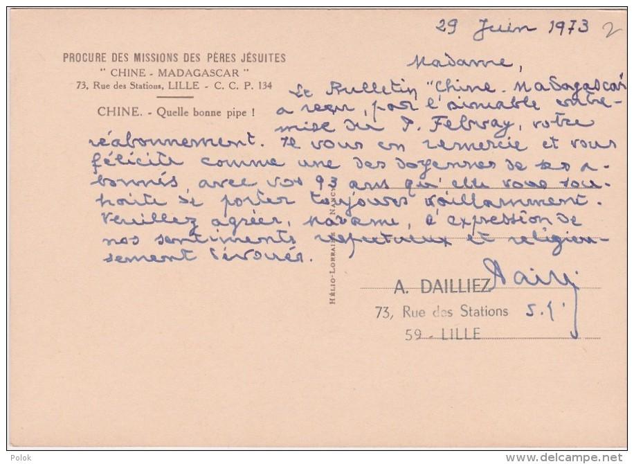Bp - Cpsm Grand Format CHINE - Quelle Bonne Pipe ! Procure Des Missions Des Pères Jésuites Chine - Madagascar - Chine