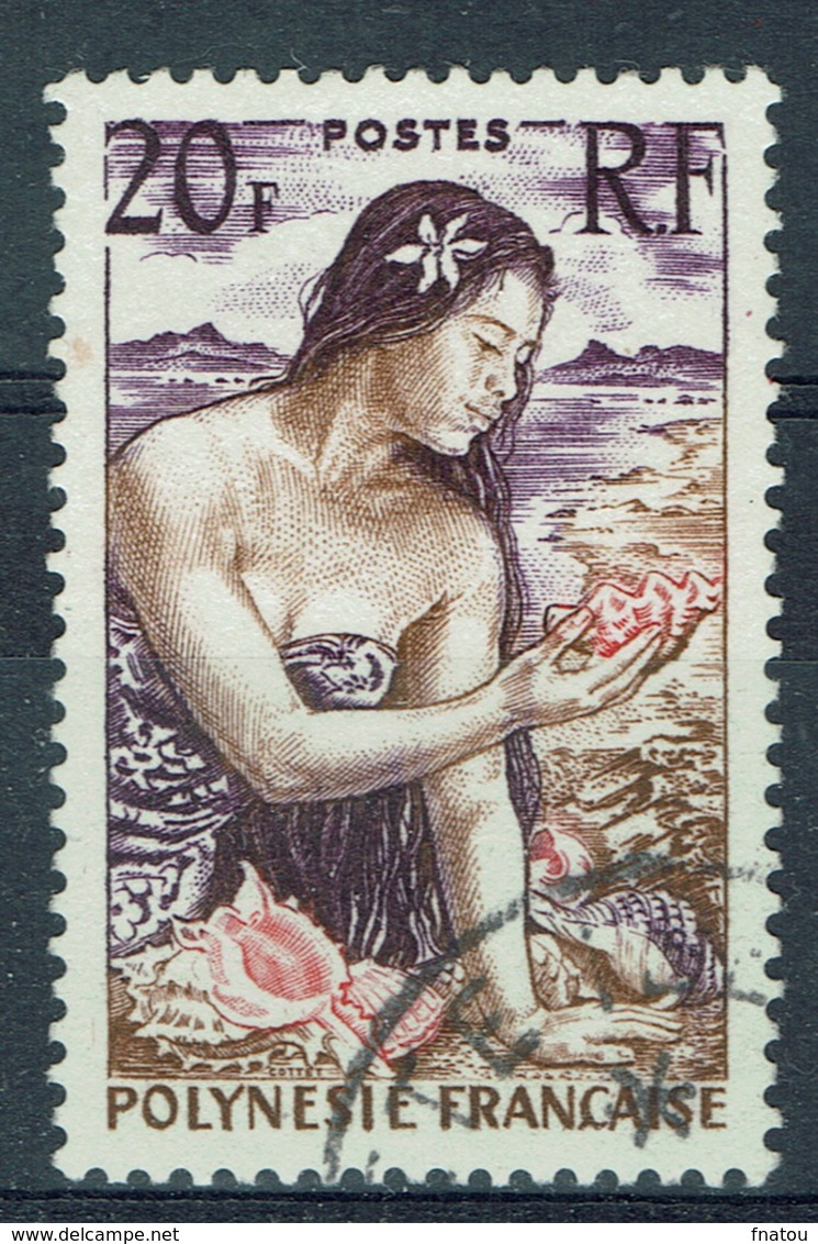 French Polynesia, Woman With Shell, 20f, 1958, VFU - French Polynesia