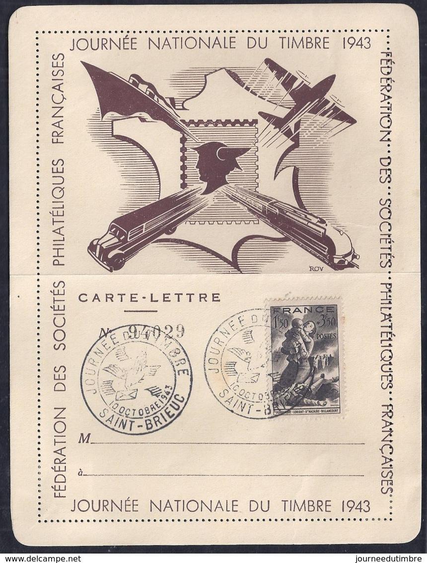 Carte Lettre Federale Journee Du Timbre 1943 Dunkerque Saint Brieuc - France