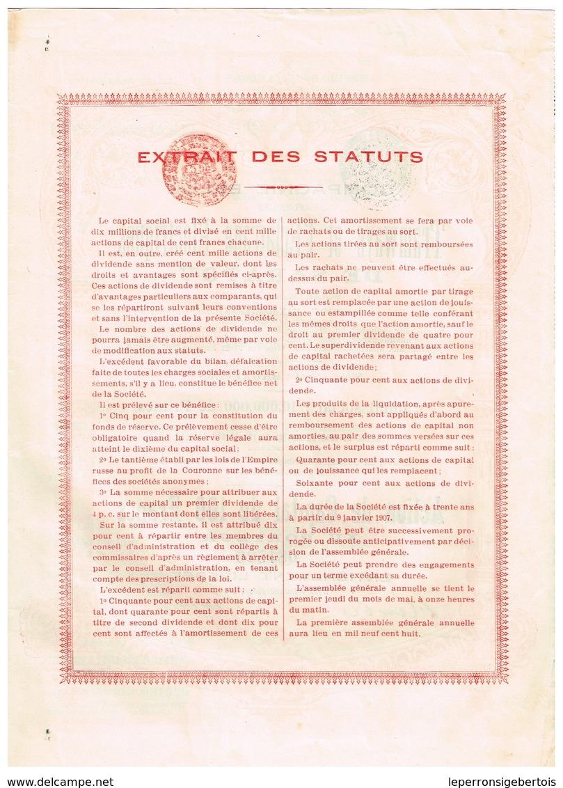 Action Ancienne - Compagnie Belge Pour Les Tramways Et L' Eclairage Electrique De Saratov - Titre De 1907 - N° 038214 - Chemin De Fer & Tramway