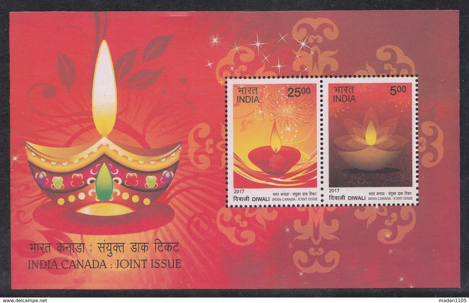 INDIA 2017 INDIA CANADA Joint Issue,  Festival Of DIWALI,  Set  2v Complete In A Miniature Sheet, MNH(**). - India