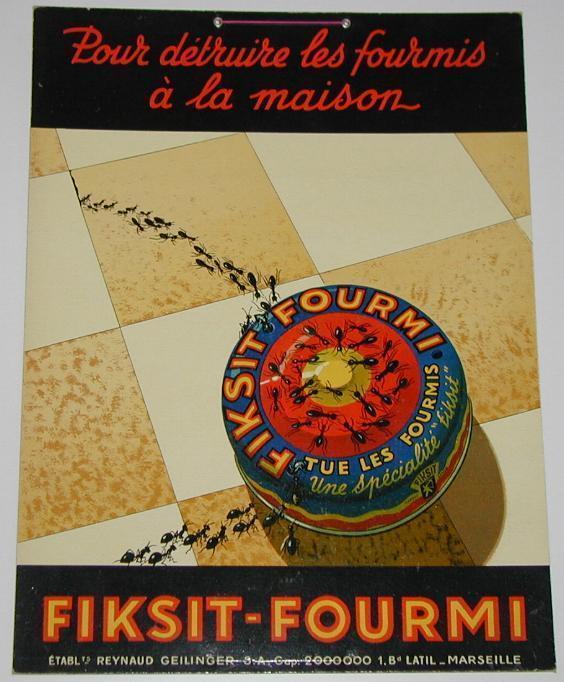 """Publicité Cartonnée """"FIKSIT FOURMI"""" - Plaques En Carton"""