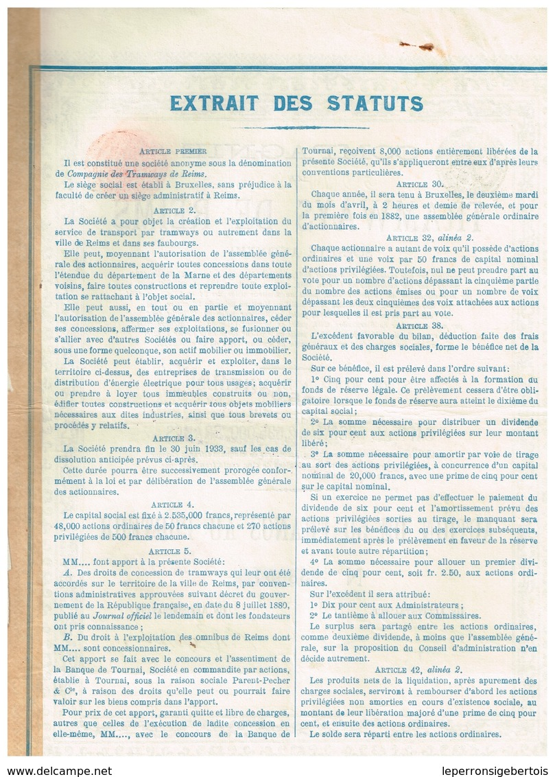 Ancienne Action - Compagnie Des Tramways De Reims -Titre De 1913 - Chemin De Fer & Tramway