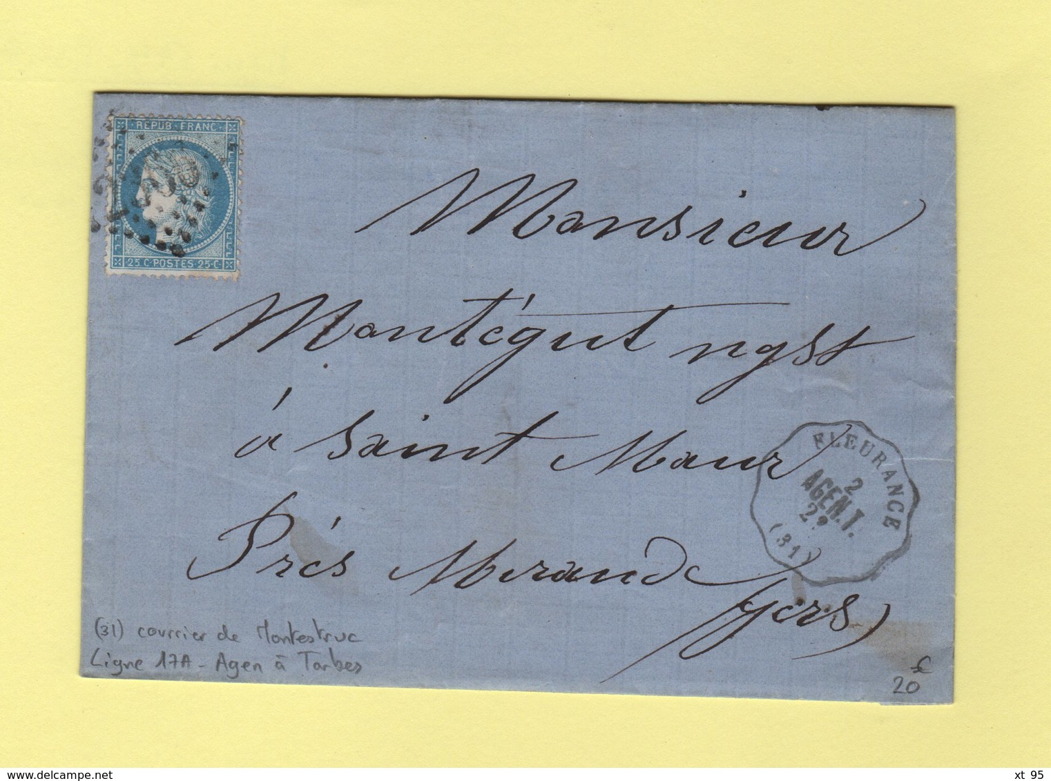 Convoyeur Station - Ligne 17A - Agen à Tarbes - Fleurance - 31 - Gers - Courrier De Montestruc - 1877-1920: Semi Modern Period