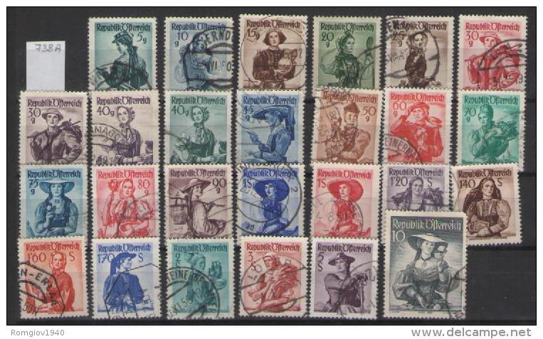 AUSTRIA  1948-50 COSTUMI REGIONALI UNIF. 738A-754A USATA VF (NON COMPLETA,MANCA IL 738A) - 1945-.... 2a Repubblica