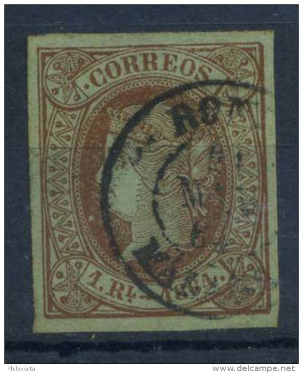 Spagna 1864 Mi. 59 Usato 100% 1 R, Regina Isabella - 1850-68 Kingdom: Isabella II