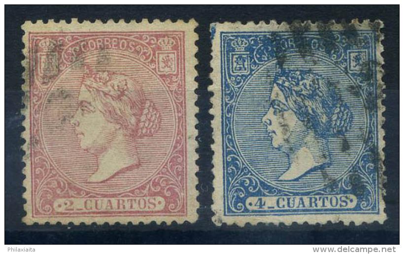Spagna 1866 Mi. 73-74 Usato 100% 2 R, Regina Isabella - 1850-68 Kingdom: Isabella II