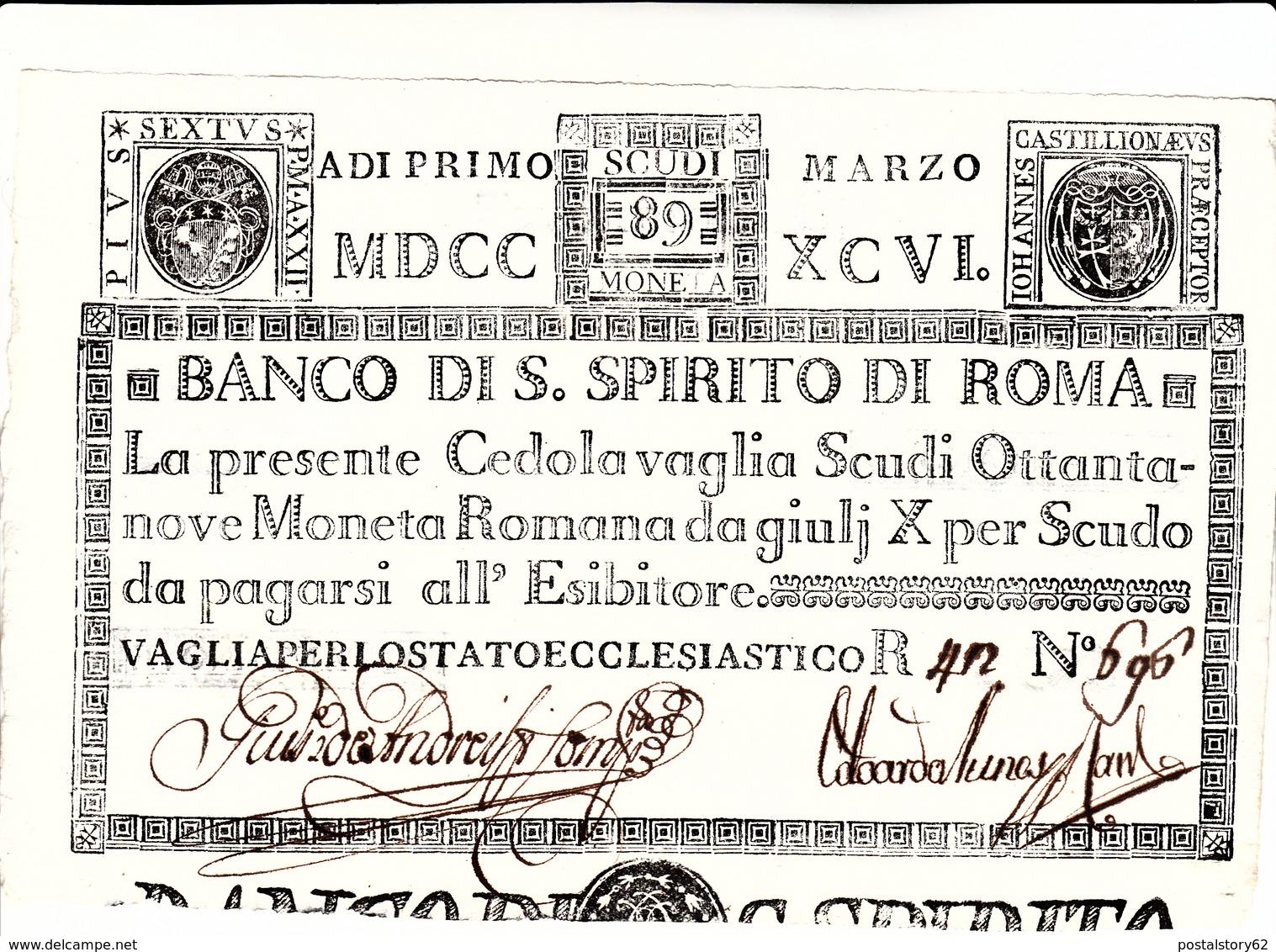 Stato Pontificio, Cedola Vaglia Scudi 89 Moneta Romana. Vaglia Per Lo Stato Ecclesiastico 1 Marzo 1796 - Vatican