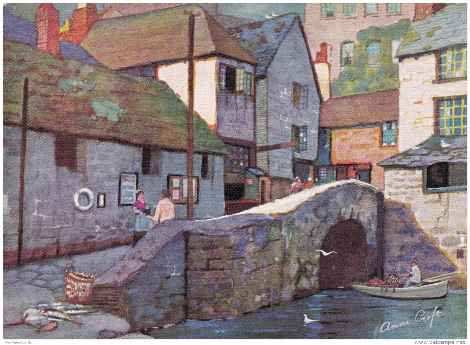 AL50 Roman Bridge, Polperro - Artist Signed Anne Croft, Linen - Other