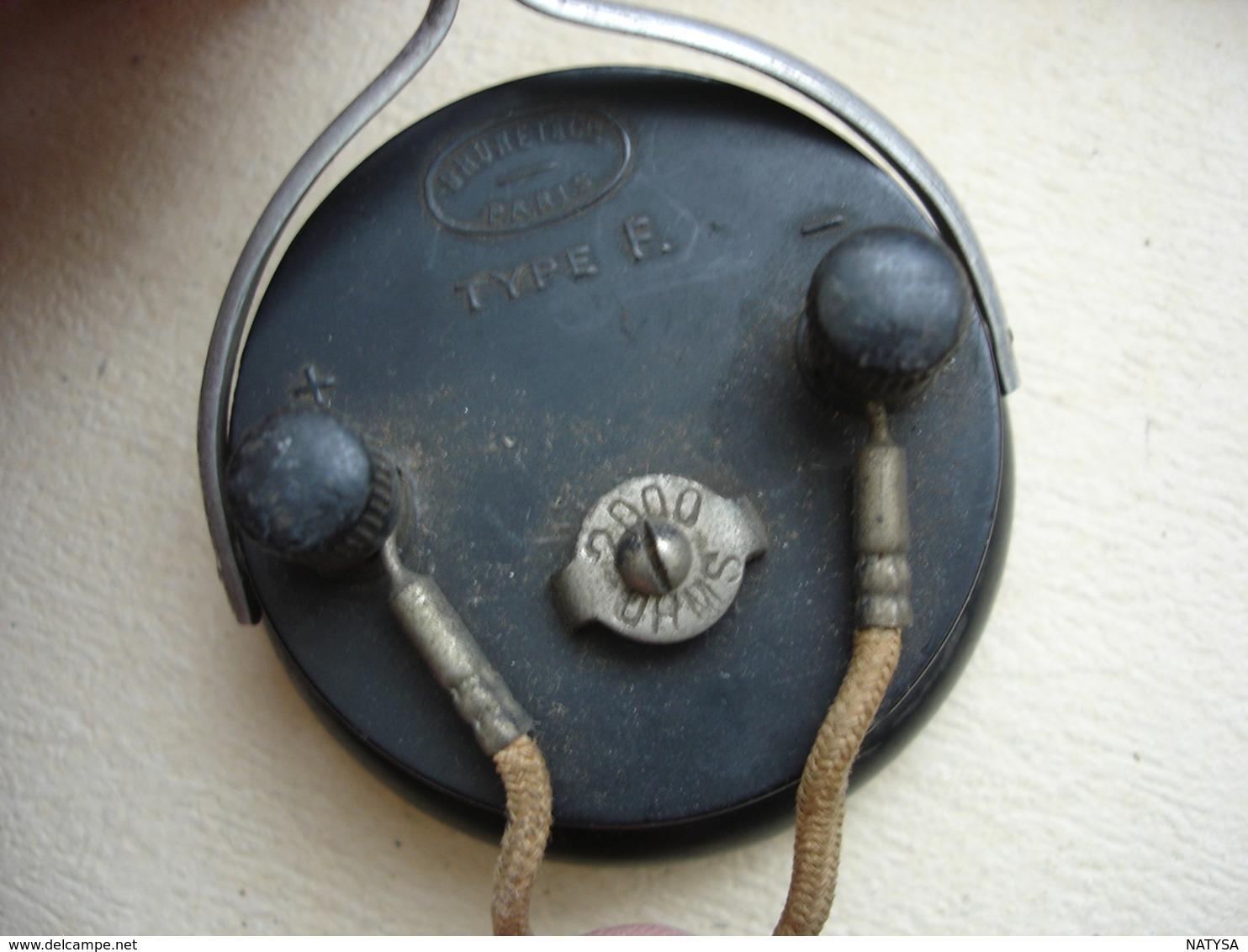 CASQUE DE 1924 POSTE RADIO à GALENE Marque BRUNET Et Cie PARIS - Radios