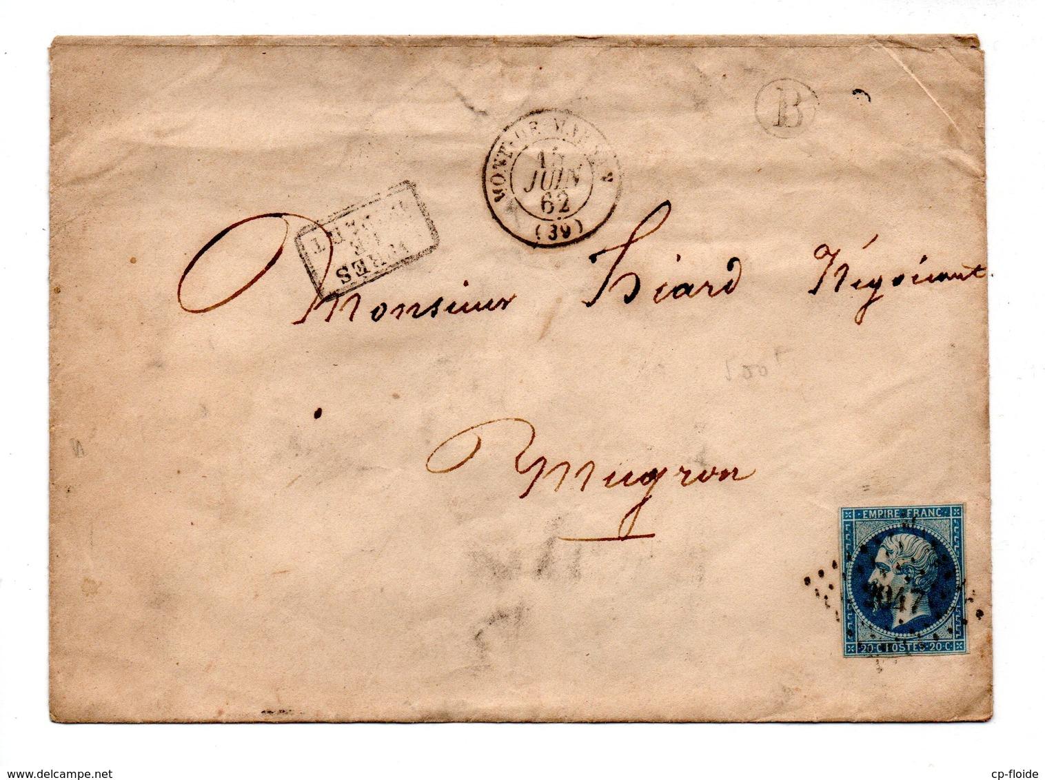 LETTRE . NAPOLÉON 20c . MUGRON LANDES . 15 JUIN 1862 - Réf. N°739T - 1849-1876: Période Classique