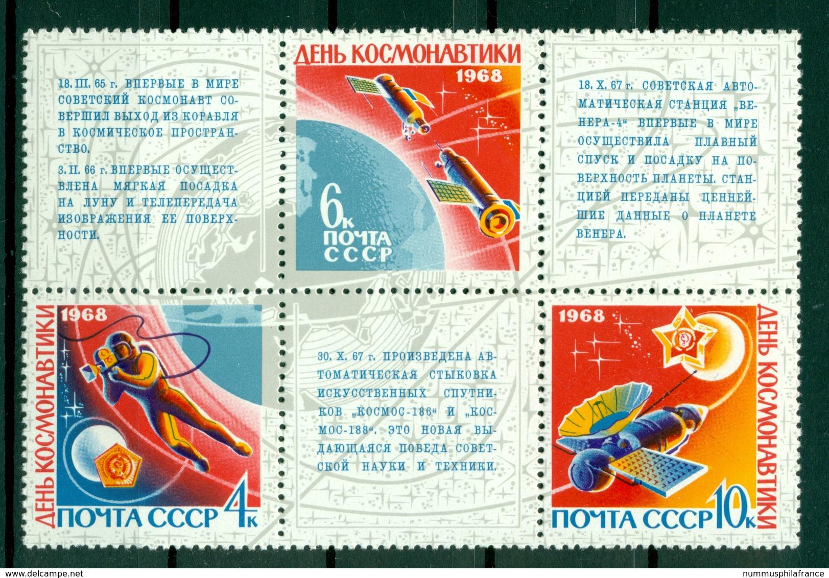 URSS 1968 - Y & T N. 3351/53 - Journée De La Cosmonautique - Blocchi & Fogli