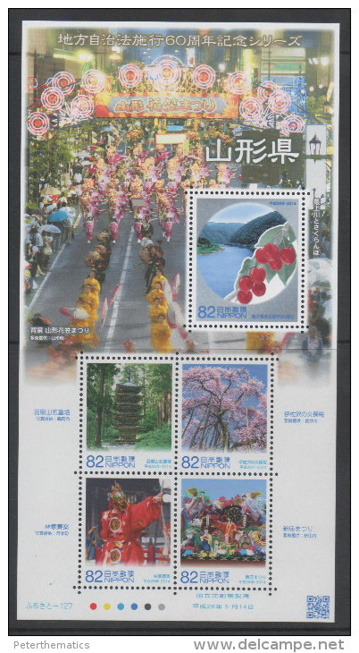JAPAN ,2014,MNH, LOCAL GOVERNMENT, YAMAGATA,  MOUNTAINS, TEMPLES, TREES, FESTIVALS, SHEETLET - Other