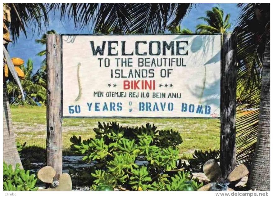 Bikini Atoll . Marshall Islands . Welcome Sign At Eneu Airstrip - Marshall