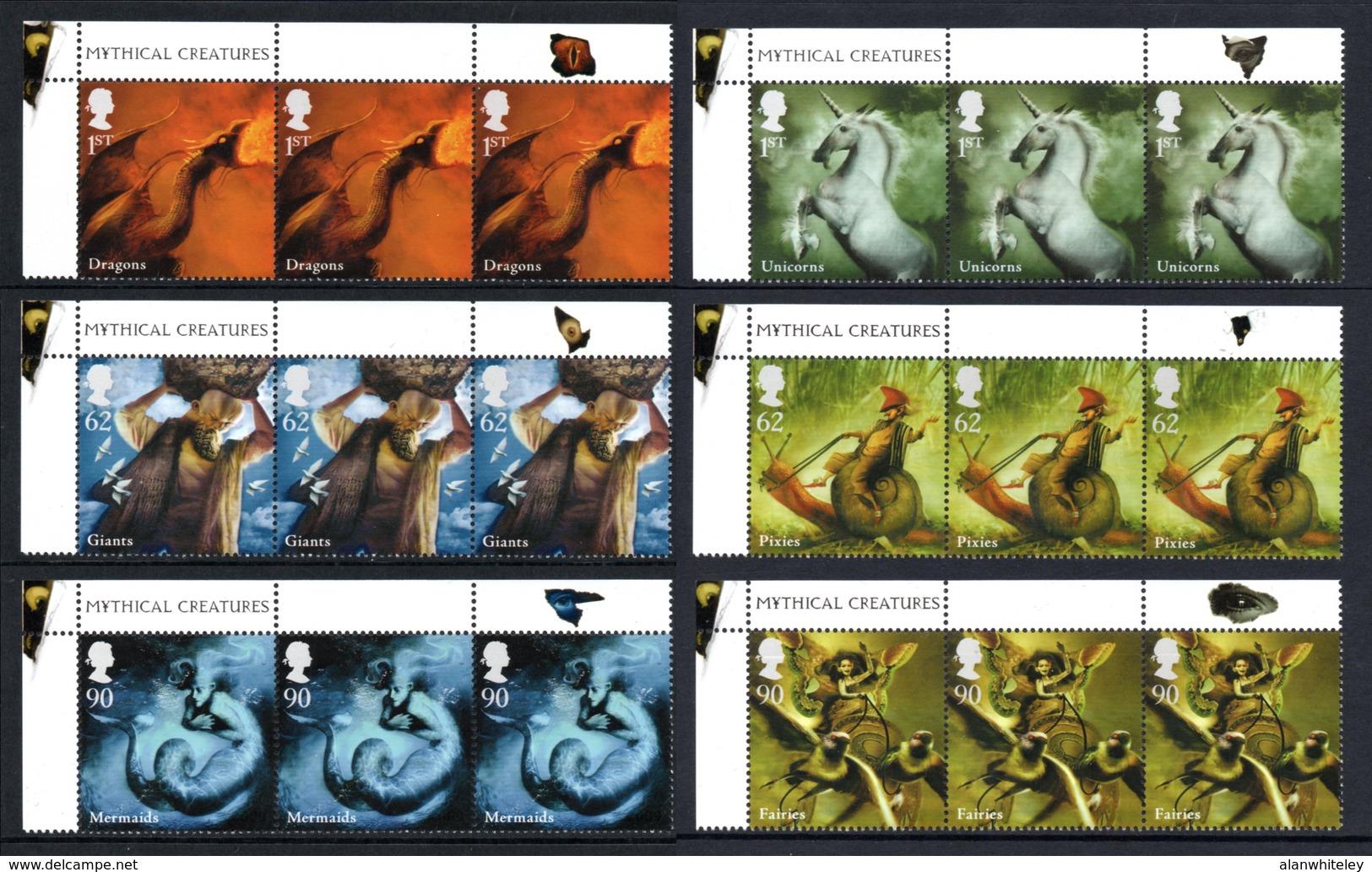 GREAT BRITAIN 2009 Mythological Creatures: Set Of 6 Triplets Of Stamps UM/MNH - Ongebruikt
