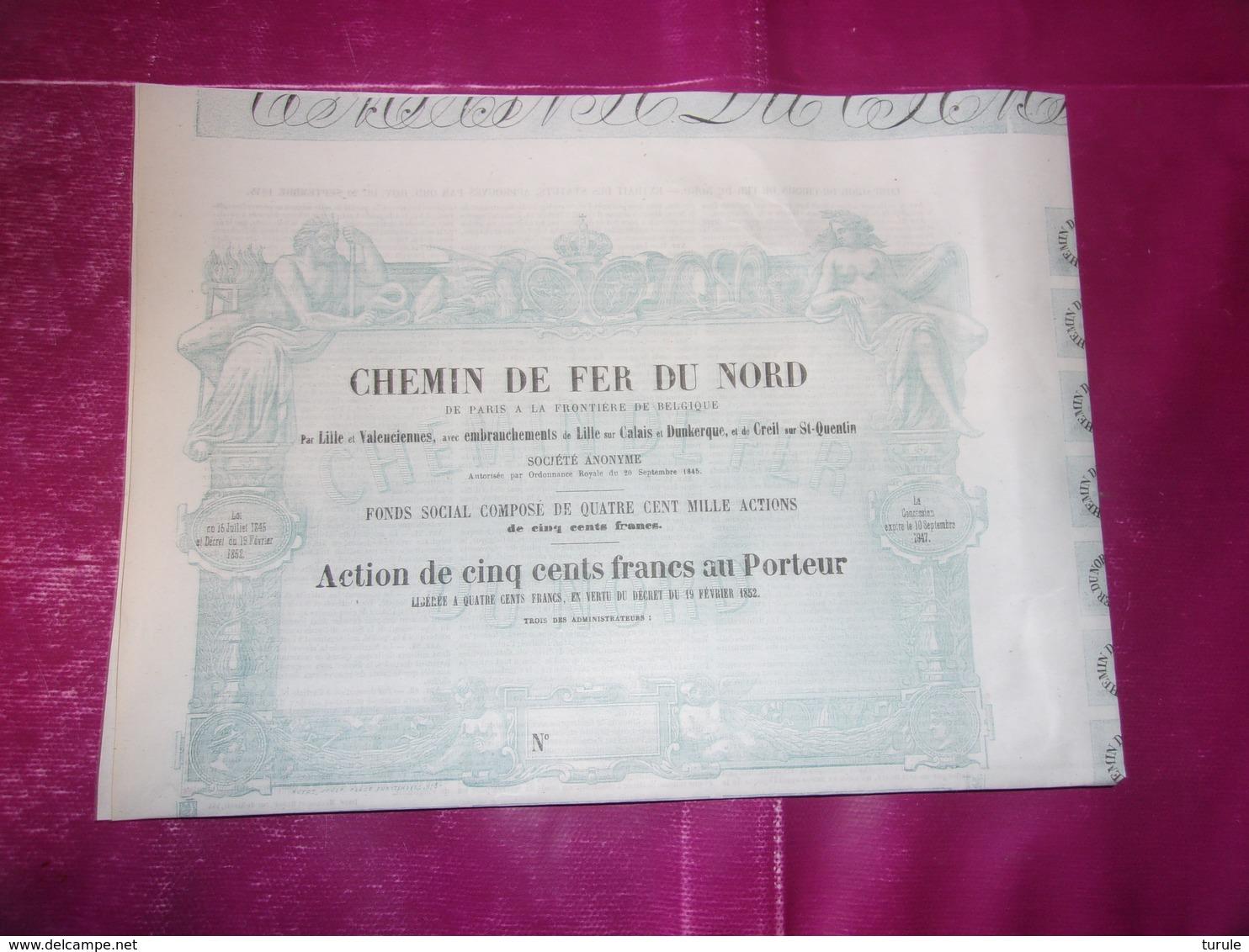 CHEMIN DE FER DU NORD De Paris A La Frontiere De Belgique (1852) - Aandelen