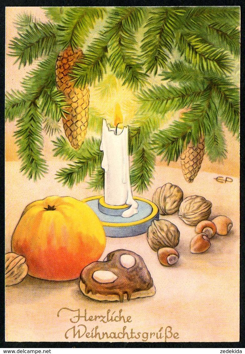 B3496 - EP - Künstlerkarte - Weihnachten - Tannenzweig Kerzen - Emmerich Kunstkarte 1623 - Beschnitten ?! - Weihnachten