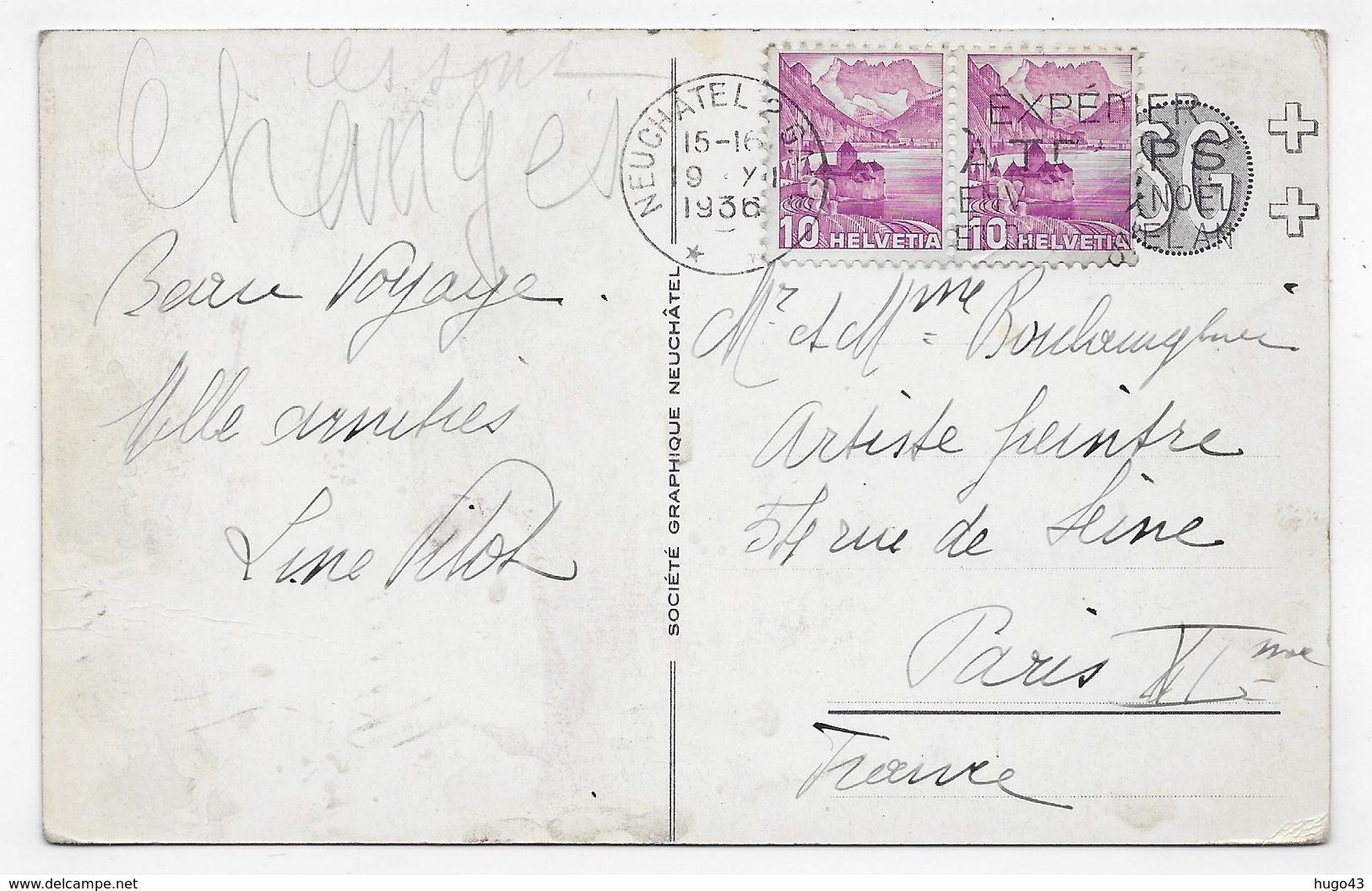 (RECTO / VERSO) NEUCHATEL EN 1936 - N° 638 - LE CHATEAU - BEAU TIMBRE ET CACHET - CPA VOYAGEE - NE Neuchatel