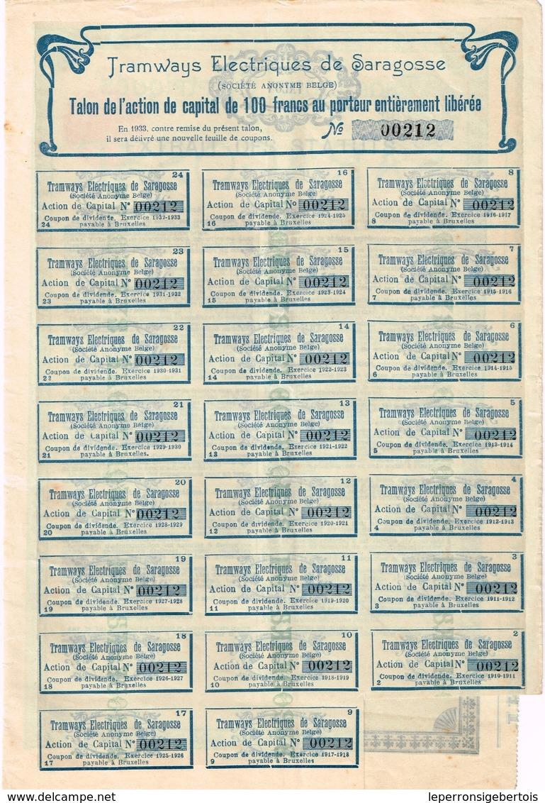 Action Ancienne - Tramways Electriques De Saragosse - Titre De 1908 - Titre N° 00212 - Chemin De Fer & Tramway